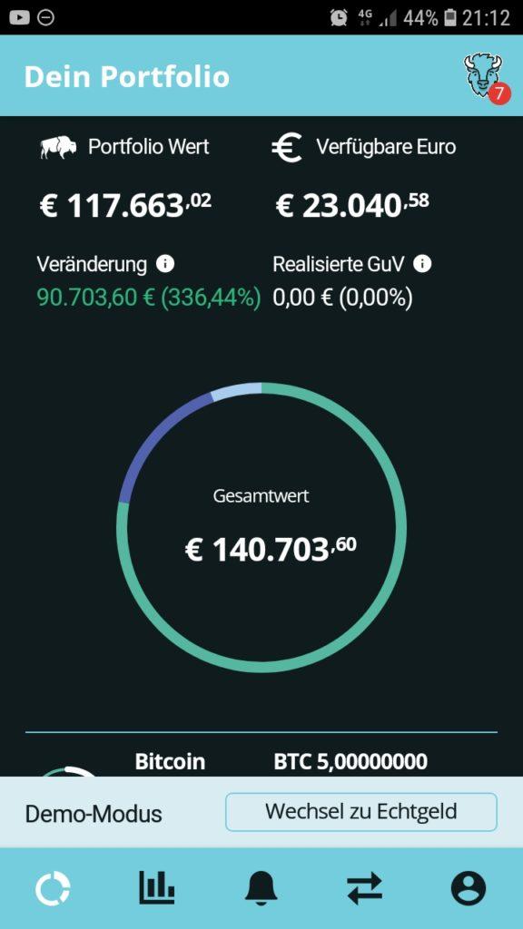 Bitcoin handeln über BISON